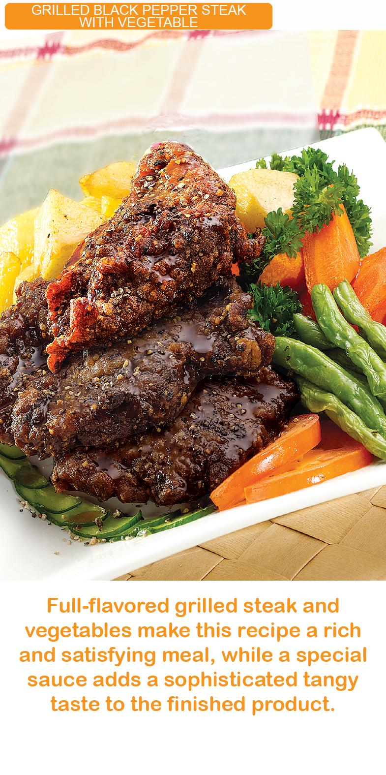 grilled black pepper steak with vegetable kfi sri kulai kinabalu food industries signature products malaysia rte