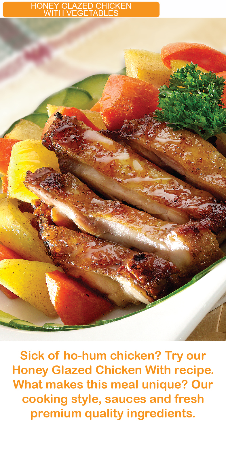 honey glazed chicken with vegetable kfi sri kulai kinabalu food industries signature products malaysia  microwavable in minutes