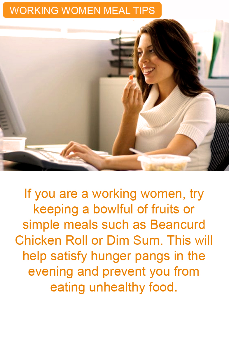 working woman eating tips at office healthy kfi sri kulai kinabalu food industries
