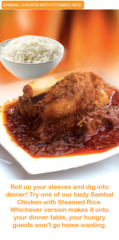 Sambal Chicken with steamed rice kinabalu food industries signature products malaysia  microwavable in minutes MEALS